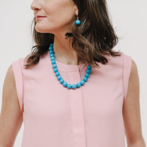 Chunky Riviera Necklace in Blue Jade
