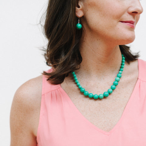 Petite Tropical Teal Necklace in Turquoise Jade