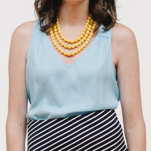 Luxe Sunshine Statement Necklace in Yellow Jade