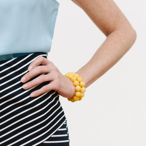 Sunshine Beaded Bracelet in Yellow Jade