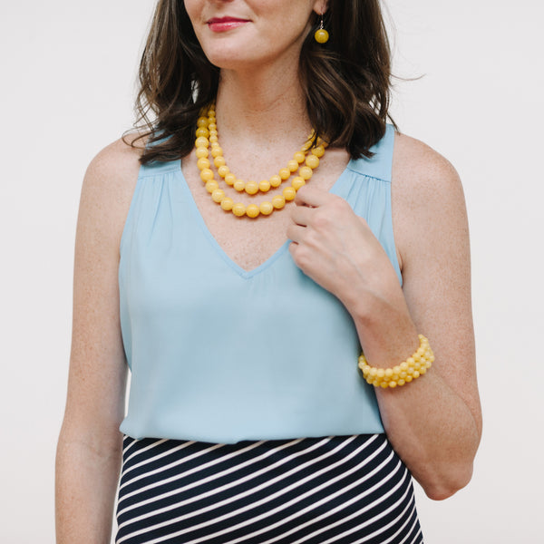 Petite Sunshine Necklace in Yellow Jade