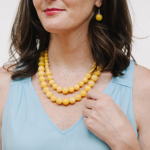Sunshine Earrings in Yellow Jade