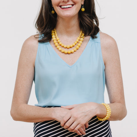 Chunky Sunshine Necklace in Yellow Jade