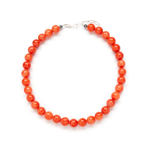 Chunky Orange Jade Necklace - Sterling Silver - Statement