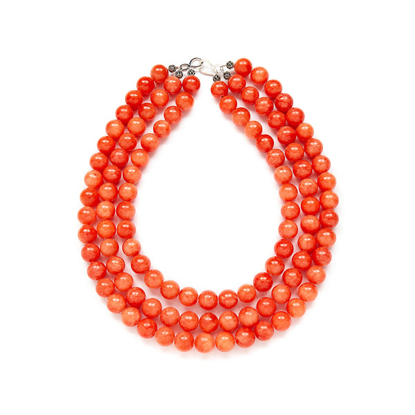 Luxe Coral Pumpkin Necklace in Orange Jade