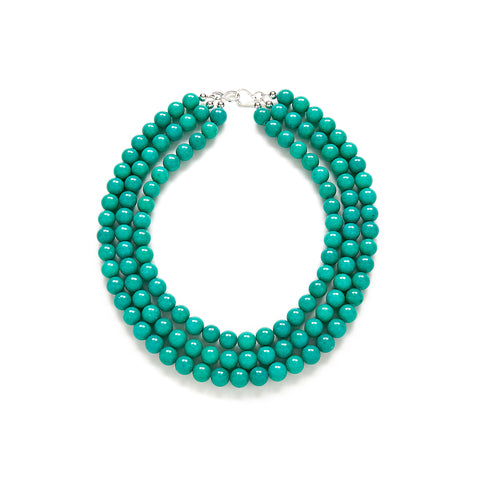 Luxe Tropical Teal Statement Necklace in Jade