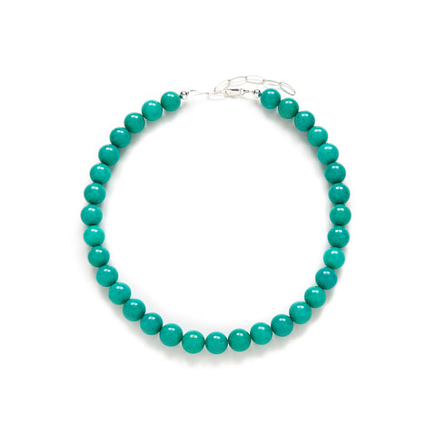 Chunky Tropical Teal Necklace in Turquoise Jade