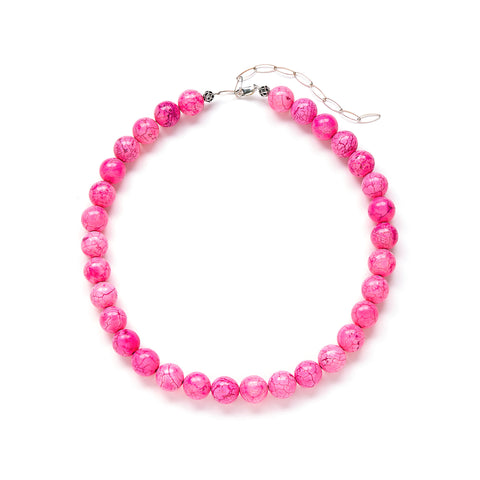 Chunky Pink Necklace Sterling Silver
