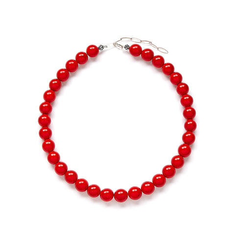 Bright Red Jade Necklace by Kluster Shop