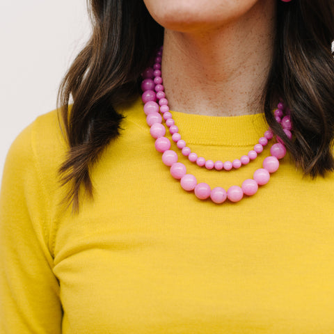 Chunky Petal Pink Necklace in Jade