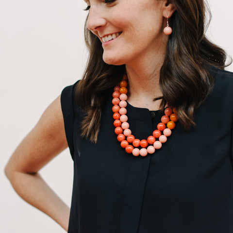Chunky Festive Ombre Necklace in Warm Jade