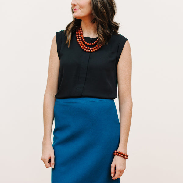 Terracotta Brown Jewelry on Model with J.Crew Pencil Skirt