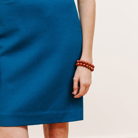 Brick Red Bracelet Stack in Red Stone with Blue Skirt