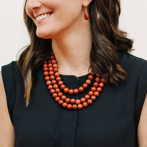 Brown Red Stone Earrings on Model wearing Navy J.Crew Blouse