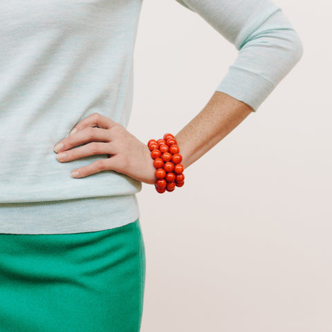 Fiesta Flame Bracelet in Red Jade