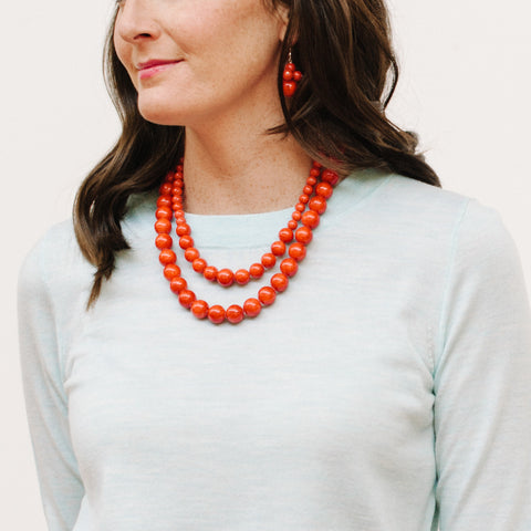 Petite Fiesta Flame Necklace in Red Jade