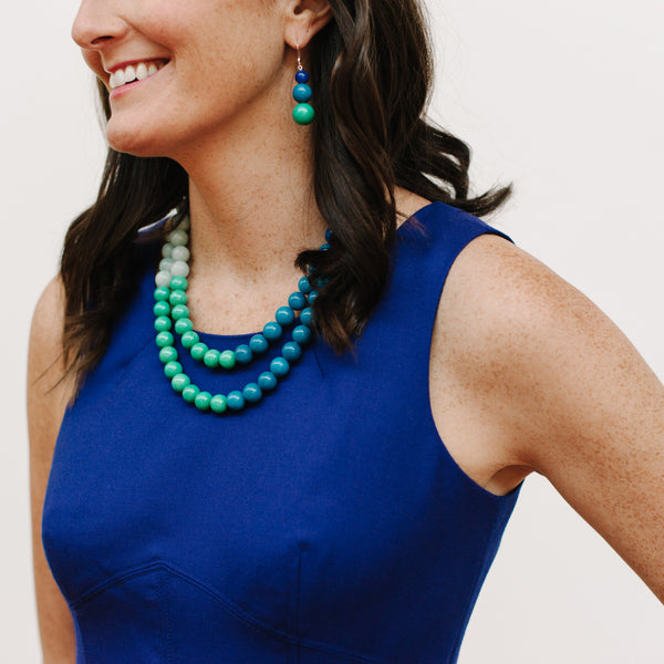 Chunky Festive Ombre Necklace in Cool Jade