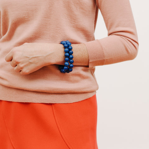 Cobalt Beaded Bracelet in Indigo Jade
