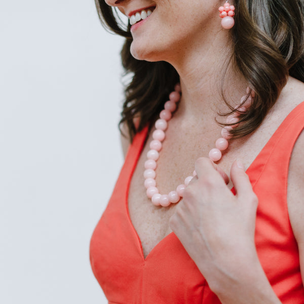 Chunky Blush Jade Necklace in Pale Pink