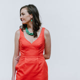 Turquoise Necklace with Orange Coral J.Crew Dress