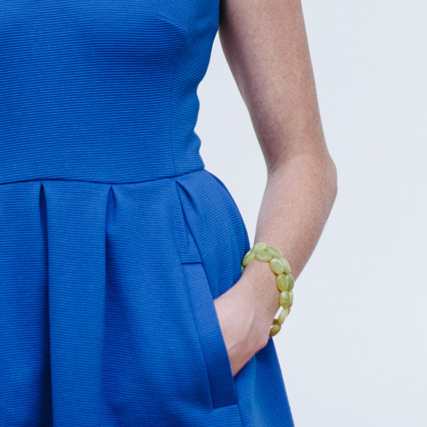 Yellow Green Jade Bracelet with Blue Dress