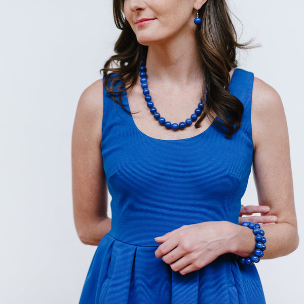 Chunky Cobalt Jade Necklace in Indigo Blue