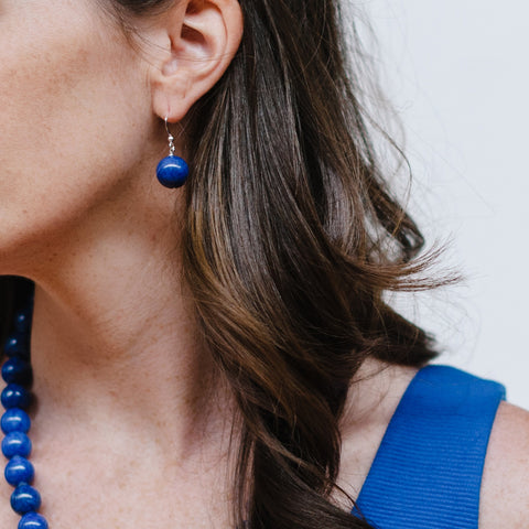 Cobalt Blue Jade Silver Earring on Model
