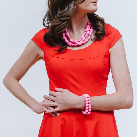 Red Cocktail Dress and Pink Jewelry