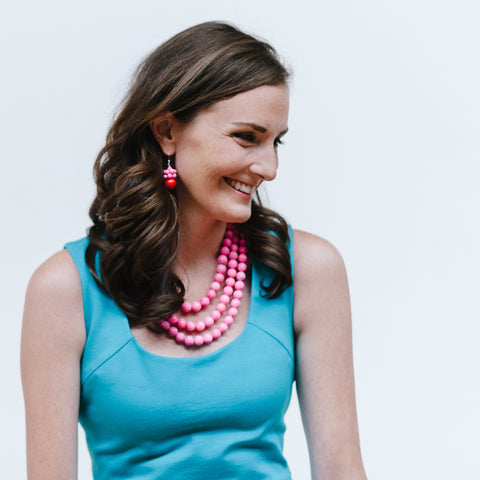 Hot Pink Statement Jewelry and Turquoise Holiday Dress