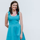 Teal Cocktail Dress with Hot Pink Stone Jewelry