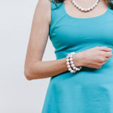 White Marble Bracelets with Turquoise Dress