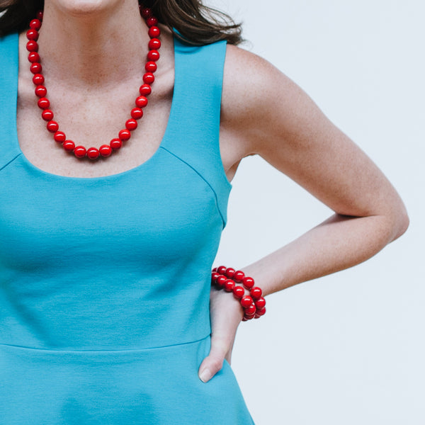 Red Jade Jewelry with Teal Cocktail Dress