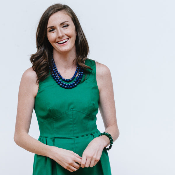 Emerald J.Crew Dress with Navy Statement Necklace