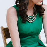 Leopard Jasper Necklace with Emerald Green J.Crew Dress