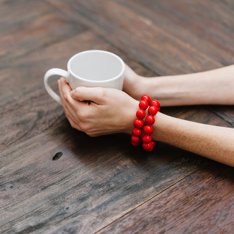 Red Bracelet with White Coffee Mug