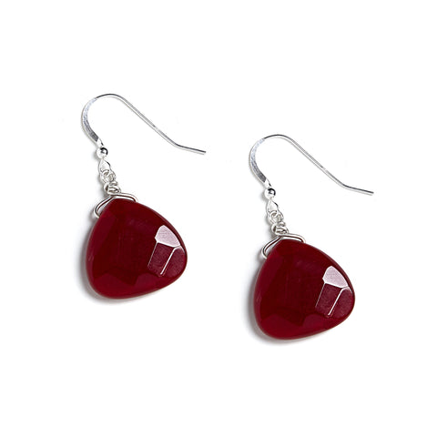 Crimson Earrings in Dark Red Chalcedony