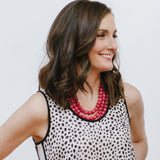 Fuchsia Statement Necklace on Model, Leopard Blouse