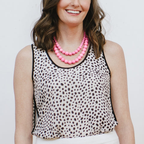 Hot Pink Necklaces on Model with Leopard Blouse