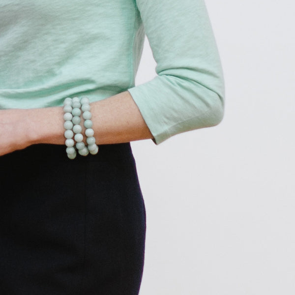 Mint Bracelet Stack on Model, J.Crew Navy Skirt, Mint T-Shirt