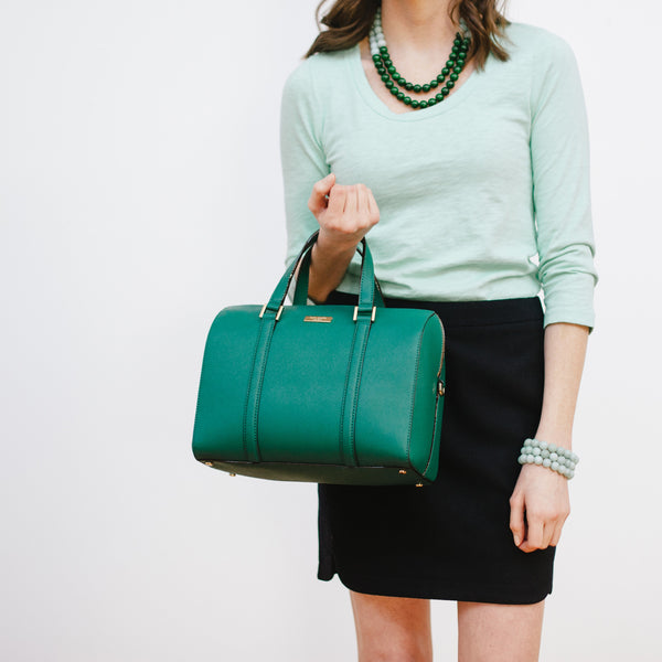 Mint Turquoise Bracelets on Model with Kate Spade and J.Crew