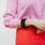 Black Onyx Bracelets on Model with Pink Blouse and J.Crew Coral Skirt