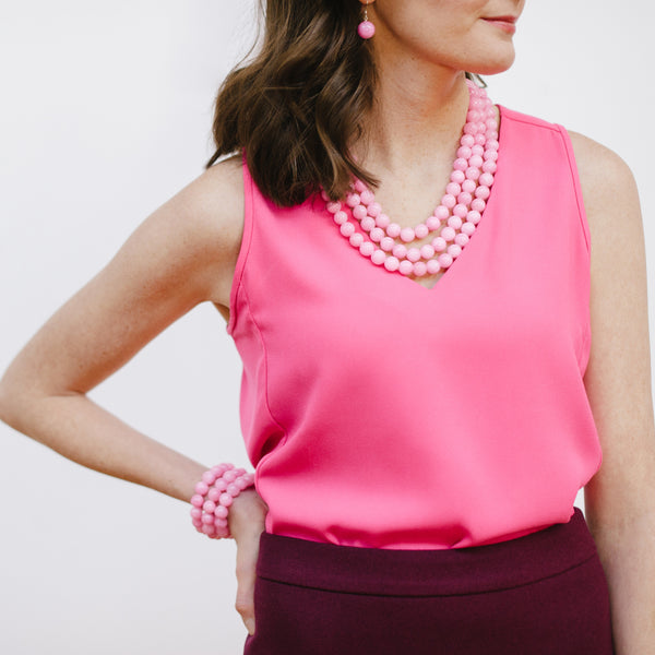 Pink Jade Jewelry on J.Crew Model in Purple
