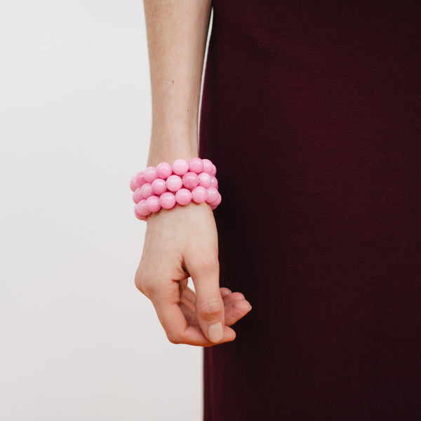 Pink Bracelet Stack on Model with J.Crew Maroon Skirt