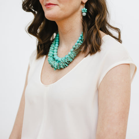 Handmade Turquoise Silver Jewelry on Model