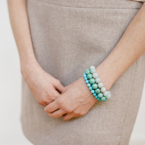 Turquoise Blue Bracelet Stack on Model