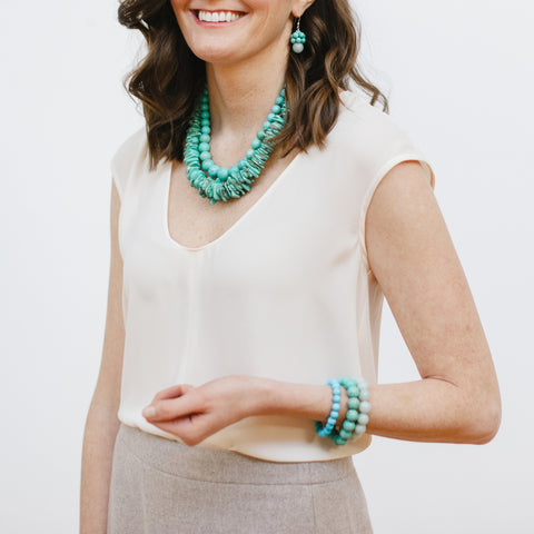 Model in J.Crew and Kluster Turquoise Jewelry