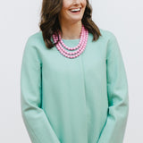Easter Pink Necklace and Mint J.Crew Coat on Model