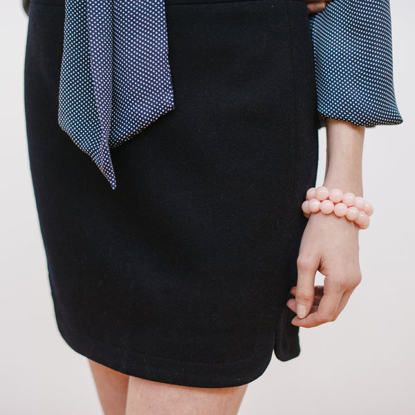 Blush Jade Bracelets on a Model with Navy J.Crew and Loft Outfit