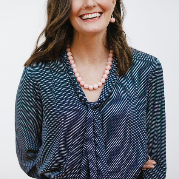 Light Pink Necklace on Model with Navy Loft Blouse