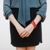Navy Outfit with Lipstick Red Bracelets